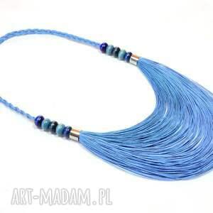 niebieskie naszyjniki naszyjnik lniany niebieski stopniowany
