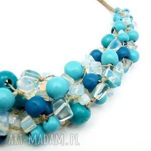 oryginalny naszyjniki turkusowe nina - niebieski naszyjnk lniany