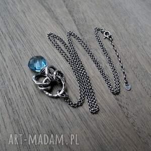 niebieskie naszyjniki niebieski nowoczesny naszyjnik- srebro