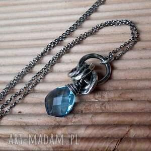 naszyjniki niebieski nowoczesny naszyjnik- srebro
