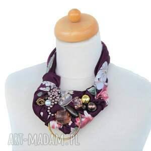 fioletowe naszyjniki naszyjnik oberżyna handmade