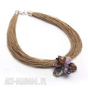 ręczne wykonanie naszyjniki ametyst odcienie fioletu na lnie