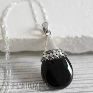 czarne naszyjniki czerń 925 onyx srebrny łańcuszek