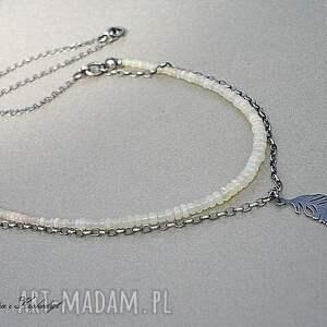 srebro naszyjniki beżowe opale australijskie - naszyjnik