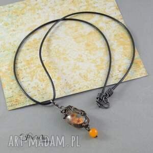 niepowtarzalne naszyjniki naszyjnik orange - z prawdziwymi