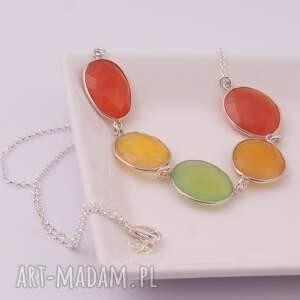 handmade naszyjniki kolorowy oranżada, wiosenny naszyjnik z