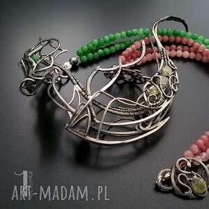srebro naszyjniki zielone otohime srebrny naszyjnik