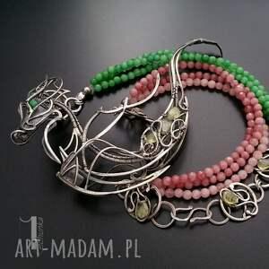 różowe naszyjniki orientalny otohime srebrny naszyjnik