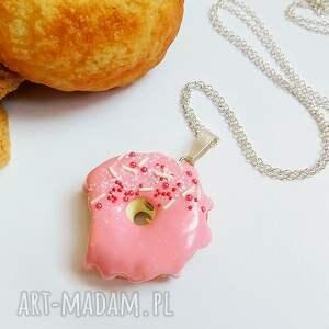 naszyjniki donut pączek w polewie - wisiorek