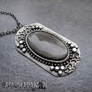 naszyjnik naszyjniki pajlo - obsydian srebrzysty, srebro