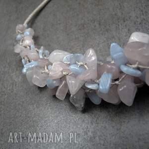 różowe naszyjniki krawc pastelowy - wyplatany naszyjnik