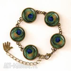 pawie naszyjniki zielone oko - medalion z łańcuszkiem