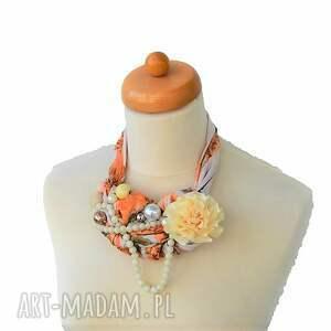 korale naszyjniki peaches & cream naszyjnik handmade