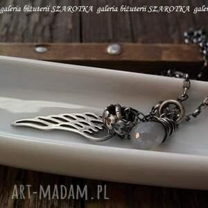 szare naszyjniki chalcedon perłowy anioł naszyjnik ze