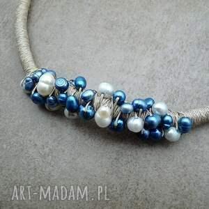 niebieskie perełki perły i len v. 2 - naturalny