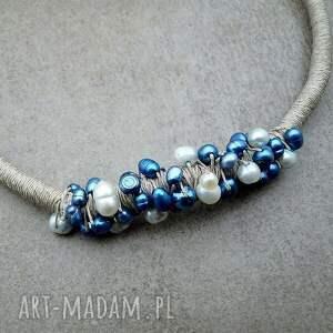 efektowne naszyjniki perełki perły i len v. 2 - naturalny