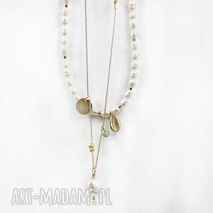 srebro złocone naszyjniki perły