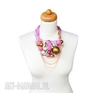 naszyjniki kolia pink -pong baszyjnik handmade