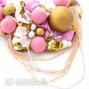 naszyjniki kolia pink -pong naszyjnik handmade