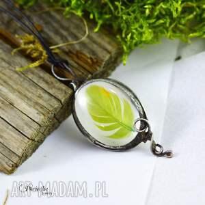 naszyjniki naszyjnik piórko zielone -