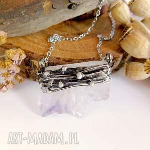 naszyjniki: Plaster ametystu w kropki - wisiorek - ametyst naturalny kamień