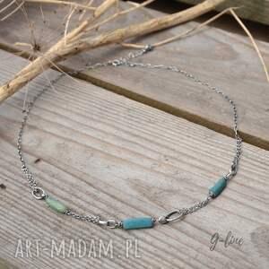 ręcznie robione naszyjniki turkusowe szkło antyczne. krótki