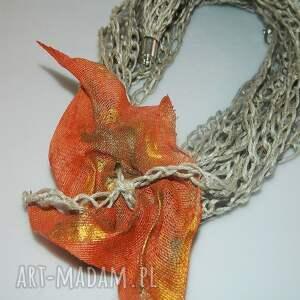 intrygujące naszyjniki pomarańczowy lniany naszyjnik