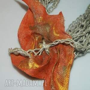 pomarańczowe naszyjniki lniany pomarańczowy naszyjnik