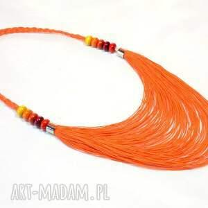 czerwone naszyjniki lniany pomarańczowy warstwowy naszyjnik