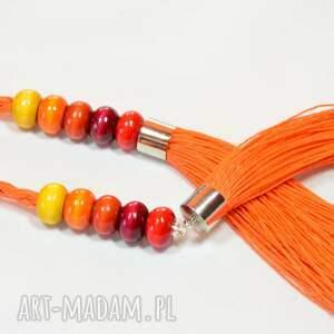 niesztampowe naszyjniki naszyjnik na lato pomarańczowy warstwowy