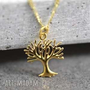 unikalne naszyjniki drzewo 925 pozłacany srebrny łańuszek