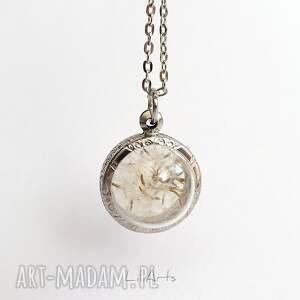 beżowe naszyjniki medalion prawdziwy dmuchawiec 2 - naszyjnik