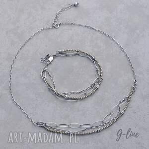 srebro naszyjniki delikatny piryt. srebrny krótki