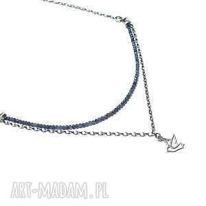 niebieskie naszyjniki srebro ptaszek w szafirach - naszyjnik