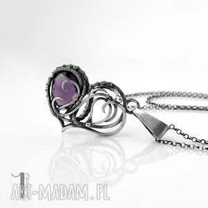 naszyjnik-srebrny naszyjniki fioletowe purple heart ii - srebrne serce
