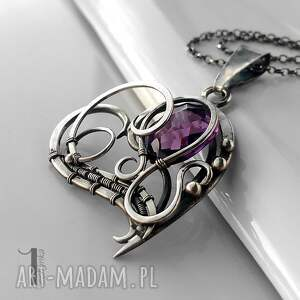 naszyjniki ametyst purple heart srebrny naszyjnik z