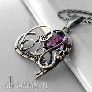 naszyjniki ametyst purple heart srebrny naszyjnik