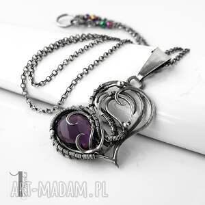 modne naszyjniki ametyst purple heart ii - srebrne serce