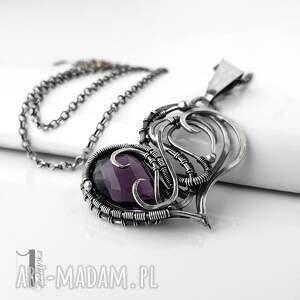 modne naszyjniki naszyjnik-srebrny purple heart ii - srebrne serce