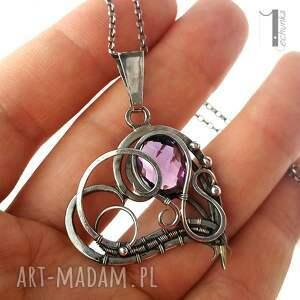 serce naszyjniki purple heart srebrny naszyjnik