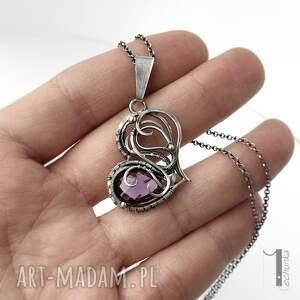 naszyjniki naszyjnik-wire-wrapping purple heart ii - srebrne serce