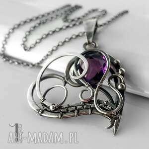 szare naszyjniki srebro purple heart srebrny naszyjnik z