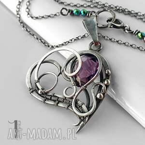 ametyst naszyjniki fioletowe purple heart srebrny naszyjnik