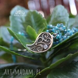 turkusowe naszyjniki srebrnarozetka romantyczna rozeta