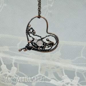 kwarc różowy naszyjniki rose heart - naszyjnik romantyczny