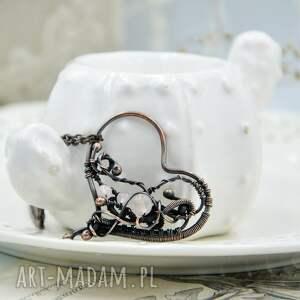 różowe naszyjniki naszyjnik serce rose heart - romantyczny