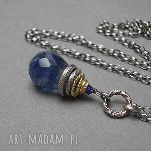 srebro oksydowane naszyjniki royal blue /kropelka/