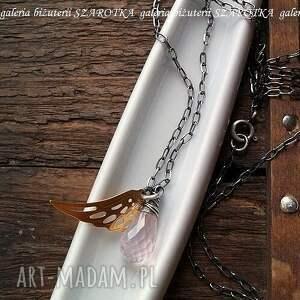 srebrne naszyjniki kropla różany anioł naszyjnik z różowego