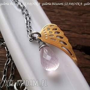 naszyjniki kwarc różany anioł naszyjnik z różowego