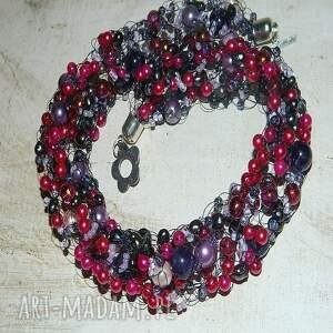 oryginalne naszyjniki naszyjnik różowe perły